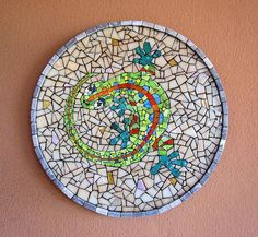 Gecko 40 cm diameter-Smalti, vitreous glass and stone