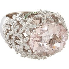 Sidney Garber Diamond, Morganite & Tsavorite Flower Ring ($15,735) ❤ liked on Polyvore featuring jewelry, rings, accessories, 18k diamond ring, diamond rings, diamond jewelry, 18 karat gold ring and tsavorite garnet ring