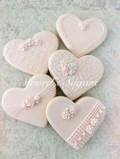 Just a few of the cookies I'm working on for a wedding rehearsal dinner and wedding. Cookies Cupcake, Galletas Cookies, Fancy Cookies, Heart Cookies, Iced Cookies, Biscuit Cookies, Cute Cookies, Royal Icing Cookies, Sugar Cookies