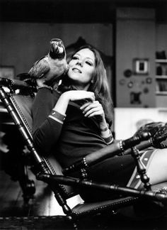 0 Diana Rigg with her pet parrot Chrome