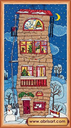 Cross stitch kit Winter house picture Free Shipping by AbrisA
