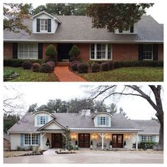 This is a gorgeous transformation of a brick home that has been painted and lightened up.  It's so fresh and welcoming!  Read the post to see other painted brick homes and how they add charm and curb appeal.