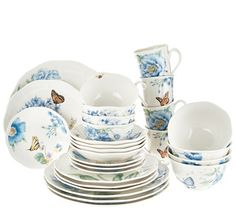 Dinnertime is more delightful with this Lenox porcelain dinnerware set for four. Butterflies bumblebees  sc 1 st  Pinterest & Lenox Butterfly Meadow 12pc Porcelain Dinnerware Set | Porcelain ...