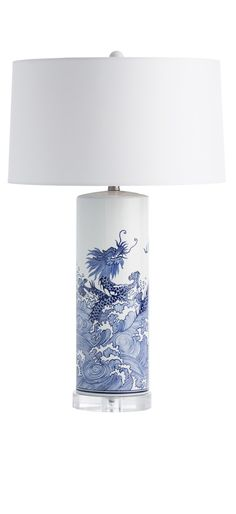 beautiful blue and white lamp