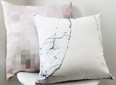 Marble and pastel pixels cushion covers. Marble cushion love. Black and White. Pink and Grey pixels. Covers available from Thethrow. #cushions #decor #cushionlove #huesofblue #homewares #living #style #interiors