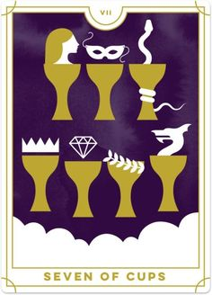 Detailed Tarot card meaning for the Seven of Cups including upright and reversed card meanings. Access the Biddy Tarot Card Meanings database - an extensive Tarot resource. Seven Of Cups, What Are Tarot Cards, Le Tarot, Online Tarot, Daily Tarot, Tarot Learning, Tarot Card Meanings, Ancient Mysteries, Tarot Readers