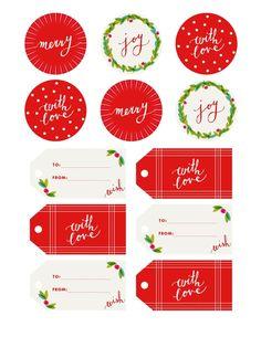 Imprimibles etiquetas navidad/ tonos rojos y verdes >> Fine Print :: Holly Jolly Gift Tags