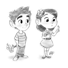 """A little couple for today's cool down sketch Music: """"The Gambler"""" by Fun.be/JCXfwPPOUec Procreate Cooldown Sketches 4 Boy Cartoon Drawing, Little Boy Drawing, Boy And Girl Drawing, Boy And Girl Cartoon, Cartoon Sketches, Cartoon Kids, Cartoon Art, Character Design Cartoon, Kid Character"""