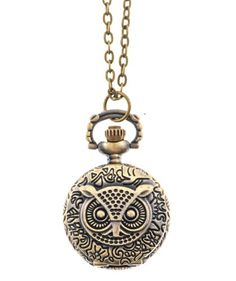 Shagwear Woman's Necklace Long Retro Vintage Small Steampunk Owl Pocket Watch Pendant - Jewelry For Her