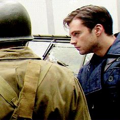 Bucky Barnes (GIF) oh gosh best thing ever! The only guy that looks good fixing his hair!!!