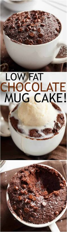 Low Fat Double Chocolate Mug Cake recipe WITH another video. Buttery and soft. The BEST low fat, guilt-free mug cake! Low Fat Chocolate, Chocolate Mug Cakes, Chocolate Chips, Chocolate Cale, Chocolate Muffins, Mug Recipes, Cake Recipes, Dessert Recipes, Recipies