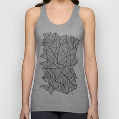 Abstraction Lines #2 Black and White Unisex Tank Top #abstract #abstraction #black #white #geometric #line #lines #projectm
