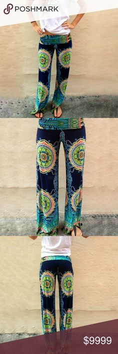 3RD RESTOCK*HOT*! *BOHO GYPSY palazzo pants M,L,XL ***HOT ITEM!! **THESE ARE SO SUPER GYPSY BOHO CHIC & SOOO CUTE!! GORGEOUS BOHO Vintage pattern/design. Dark blue with bright vibrant colors in gypsy/boho designs. M,L,XL! Yay! Seem to run pretty true to size MAY RUN TINY tiny BIT LARGE! If you like them tight order size smaller!  These are GORGEOUS looking pants!! Cool & so comfortable! Incredibly BOHO adorable!! SMALLS ON ORDER! *2 other GORGEOUS patterns HERE IN MY CLOSET TOO! SONFLOWER…