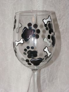 Dog Paws and Bones Hand Painted Wine Glasses by TheGardenPot999, $18.00
