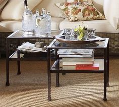 Tanner Occasional Cube Coffee Table with Glass Top, Set of 2 - traditional - Coffee Tables - Pottery Barn  $500 for two