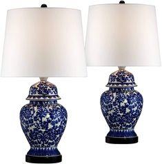 "Oriental Furniture 22/"" Birds and Flowers Porcelain Jar Lamp"