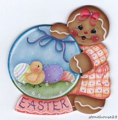 HP GINGERBREAD Easter Globe FRIDGE MAGNET in Crafts, Handcrafted & Finished Pieces, Handpainted Items | eBay