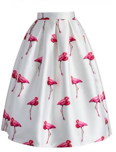 Fun, A-line skirt. Fantastic for summer days, love the flamingos on this skirt