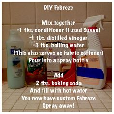 How to make Febreze or Febreeze or home freshness spray! I combined two recipes to make this one.    #febreze #diy #cleaning