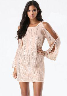 Sequin Cold Shoulder Dress - Dresses - Special Occasion   bebe