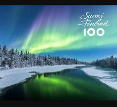 Suomi Finland 100 (Makkieh Tamasoki) Aurora Borealis, Finland, Northern Lights, Europe, Amazing, Travel, Anniversary, Board, Happy