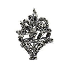 Sterling silver brooch and pin India Bouquet Jewelry (Bunch Of Flowers) Marcasite length 3.81 cm