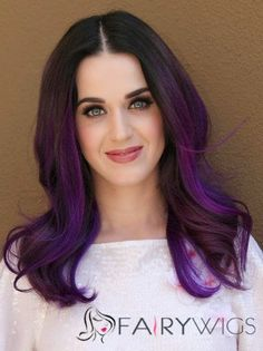 wigs+purple+hair | ... Full Lace Black to Purple Top Quality High Heated Fiber Ombre Wigs
