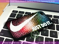 Nike Just Do It Leopard Rainbow Pattern - iPhone 4 / iPhone 4S / iPhone 5 / Samsung S2 / Samsung S3 / Samsung S4 Case Cover
