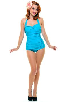 Vintage Inspired Swimsuit 50's Style Turquoise One-Piece