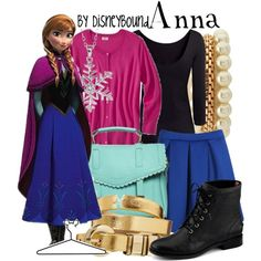 Anna disneybound. My outfit will be: blue high wasted shorts, black top, snowflake earrings, black combat boots, & violet cardigan! :D