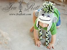 Handmade Crochet Gray Sock Monkey Hat with Green Mohawk for children of all ages