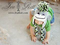 Handmade Crochet Gray Sock Monkey Hat with Green Mohawk for children of all ages