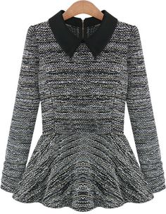 Black Lapel Long Sleeve Ruffle Knit Sweater 12.00
