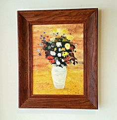 1950 Vintage Wild Flower Oil On Canvas by DauphinTimeCapsule