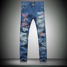 Marca moda Casual diseñador jeans hombres 2014 nuevos hombres pintadas de graffiti de impresión hombres jeans denim pantalones flacos MB550 Z20 en Jeans de Moda y Complementos Hombre en AliExpress.com | Alibaba Group