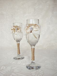 Personalized Wedding glasses Rustic wedding by HenrietteRenee