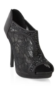 black #lace high heel #bootie with stones and zip back  $40.50