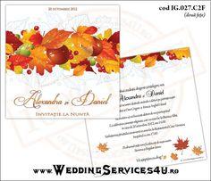 Invitatie de Nunta Model IG027   2 variante de invitatii http://invitatii-marturii.weddingservices4u.ro/invitatii-nunta-model-ig027-by-weddingservices4u-ro/  Tematica de Toamna