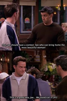 """Joey Tribbiani (Matt Le Blanc) e Chandler Bing (Matthew Perry) nell'episodio 4x06 (The One With The Dirty Girl) di """"Friends""""."""
