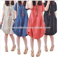 good quality Plus size Clothing Women 5 Colors Linen Blend Casual Cotton Dresses Women Bohemian Loose Cute Summer Dress 2015