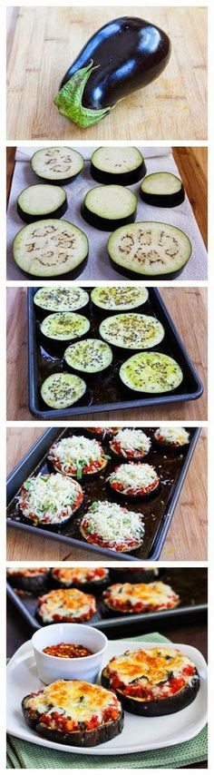 Eggplant Pizzas a low carb and great tasting way to do pizza berinjela delicia Veggie Dishes, Vegetable Recipes, Vegetarian Recipes, Egg Plant Recipes Easy, Vegetarian Italian, Going Vegetarian, Low Carb Recipes, Cooking Recipes, Healthy Recipes