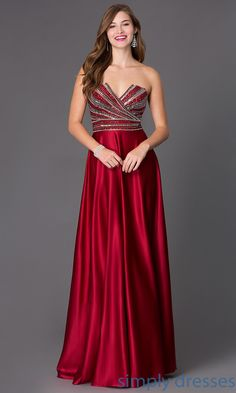 Dress, Floor Length Strapless Dress with Embellished Bodice - Simply Dresses
