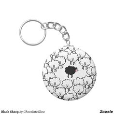 Shop Black Sheep Key Ring created by ChocolateGlow. Round Button, Black Sheep, Key Rings, Cool Designs, Super Cute, Family Reunions, Prints, Store, Check