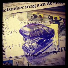 1st November - Stapler #dailydrawing - bic and collage on newspaper