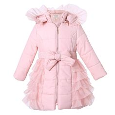 Look at this Pink Mesh Ruffle Hooded Puffer Coat - Toddler & Girls by Richie House Fashion Kids, Toddler Fashion, Girl Outfits, Cute Outfits, Cute Coats, Kids Coats, My Baby Girl, Baby Dress, Tween