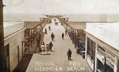 Old Hermosa Beach Pier photo. Manhattan Beach California, Southern California, Hermosa Beach Pier, Emotional Pictures, Bay Photo, Family Vacation Spots, San Luis Obispo County, Surf City, Los Angeles Area