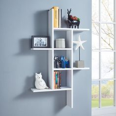 DANYA B Cantilever White MDF Floating Wall Shelf