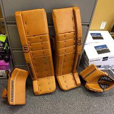 Here's a custom Retro Tan Warrior Ritual setup. Hockey Goalie Equipment, Goalie Gear, Goalie Pads, Hockey Stuff, Cushions, The Incredibles, Outdoors, Cool Stuff, Ideas