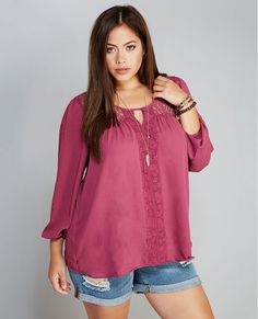 <p>We are berry into this blouse right now. Its flowy chiffon fabrication, sheer floral lace-insets, cute keyhole back, and scalloped lace tracing down the center of the bodice makes this our new fave—and definitely a closet staple!</p>  <p>Model wears a size 1X.</p>  <ul> <li>Scoop Neckline</li> <li>3/4-length Sleeves</li> <li>Unlined</li> <li>Polyester / Cotton / Nylon</li> <li>Machine Wash</li> <li>Imported</li> </ul>