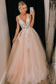 May 2020 - Champagne A Line Tulle Prom Dress Lace Appliques Deep V Neck Formal Evening Dresses Long Party Gowns Pretty Prom Dresses, V Neck Prom Dresses, Event Dresses, Formal Evening Dresses, Dress Prom, Dress Formal, Evening Gowns, Chiffon Dresses, Fall Dresses